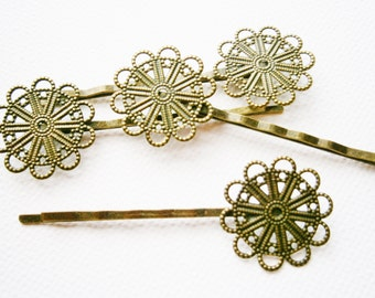 6 Antique Bronze Filigree Bobby Pin 63mm.