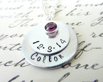 Mother's Day Personalized New Mother Necklace Baby Grandma necklace Child necklace Mommy Grandmother Hand stamped jewelry