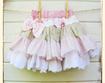 Vintage Floral & Lace Ruffle Skirt 1-3yrs
