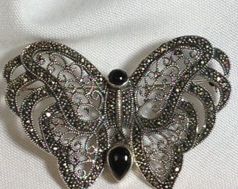 Brooch - Vintage Butterfly Brooch - Sterling Silver