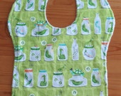 Bugs in a jar Bib backed with soft white minky for baby or toddler
