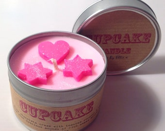 Cupcake scented candle in a tin - pink glitter