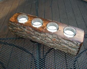 Log Candle Holder - Rustic Hardwood Log Candle Holder