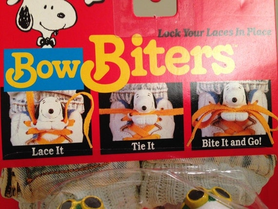 "Vintage Snoopy ""Bow Biters"" to Lock your Laces in Place"