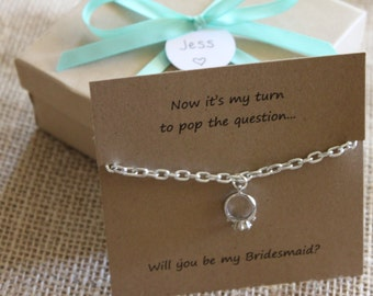 Pop the Question Necklace, Will You Be My Bridesmaid Gift, Maid of Honor, Wedding Favor, Bridal Shower