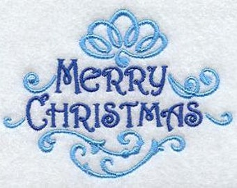 Merry Christmas EMBROIDERED Pair of 15 x 25 inch hand towels for kitchen / bath