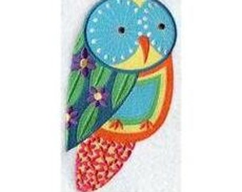 Colorful OWL EMBROIDERED Pair of 15 x 25 inch hand towels for kitchen / bath