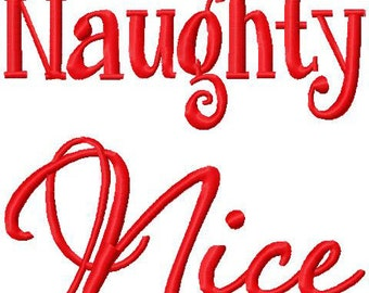 Christmas Embroidery Design Naughty and Nice Twin Brother Sister Cousin Embroidery Design Digital Instant Download 4x4 and 5x7
