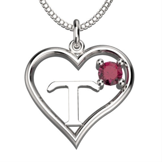BirthStone Heart Letter T Sterling Silver by SycadaLeather