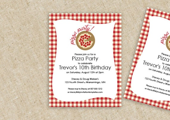 pizza birthday party invitation template by loveandpartypaper