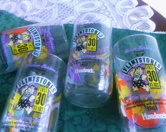 Vintage Flintstone Drinking Glasses, Colorful