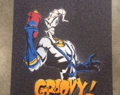 Earthworm Jim stencil sprayed on grip tape