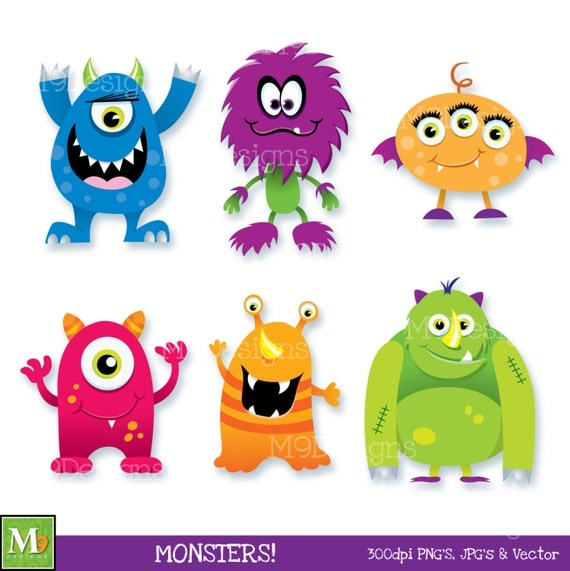 MONSTERS Clip Art: Monster Clipart Scary Fun Cute Monsters