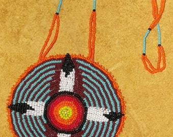 """Sale! Hand Beaded Medallion titled: """"7th Generation-Healing,""""  Made from Vision, one of a kind"""