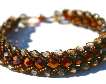 Dark Red and Light Brown and Dark Brown Bead Bracelet