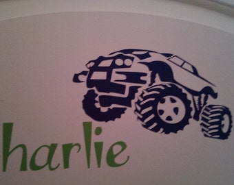 Personalized Vinyl Monster Truck Decal for Boys Room or Door