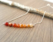 Ombre Orange Lace Agate Sterling Silver Bar Necklace