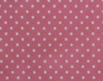 "Pink - 100% Cotton Poplin Dress Fabric Material - 3mm Polka Dot / Spot - Metre/Half - 44"" (112cm) wide"