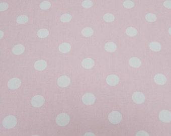 "Pink - 100% Cotton Poplin Dress Fabric Material - 22mm Polka Dot / Spot - Metre/Half - 44"" (112cm) wide"