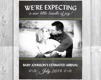 Printable Pregnancy Chalkboard Announcement Card | Size: 5x7 | *Digital File* | by MMasonDesigns