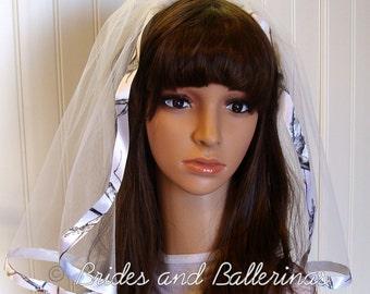 True Timber Snowfall White Ribbon Wedding Veil