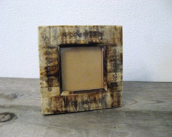 Rustic Frame / Vintage Frame / Tan Brown Frame / Tile Frame / Boho Frame