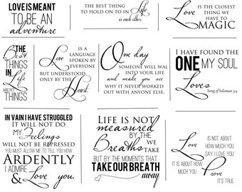 LOVE Artful Words Overlays- SET OF 10