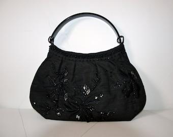 Vintage black linen bag