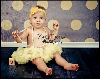 Yellow shabby rosette headband