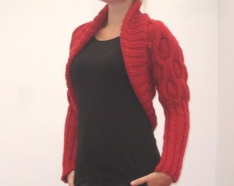 Hand knit woman's red wool bolero shrug sweater