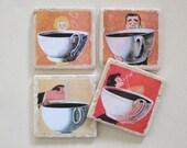 Coffee Coasters - set of 4 - retro, coffee lover, mid-century, vintage ads