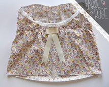 Tube top Mini-bleuet, flowery, liberty pattern, bow on back, cotton, women pajamas
