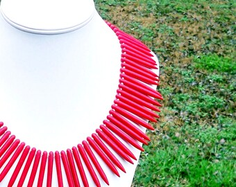 Naima - Ethnic, Chunky, Tribal Spike Needle Red Turquoise Beaded Statement Necklace - Red Turquoise Spike