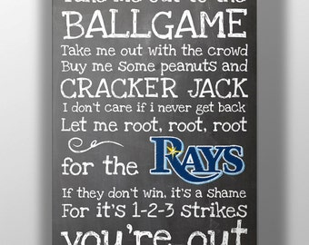 Tampa Bay Rays- Take Me Out to the Ballgame Chalkboard Print