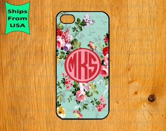 iPhone 6/6S Plus Case, iPhone 6/6S Case, Vintage Flower  Monogram iPhone 5s Case, iPhone 5c Cover, iPhone 4 4s Cases,iPhone SE Case