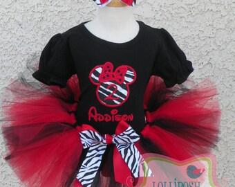 Minnie Mouse Zebra Silhouette Red and Black Birthday Number Tutu -Personalized Birthday Tutu,Sizes 6m - 14/16