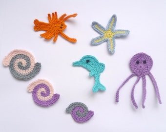 Appliques Sea Creatures 7pcs Dolphin, Octopus, Starfish, Lobster, Shell  Supplies For Clothing, Hair Clips, Handbags