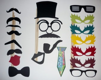 DIY Photo Booth Prop Set  mustaches,hats,lips 20 pieces