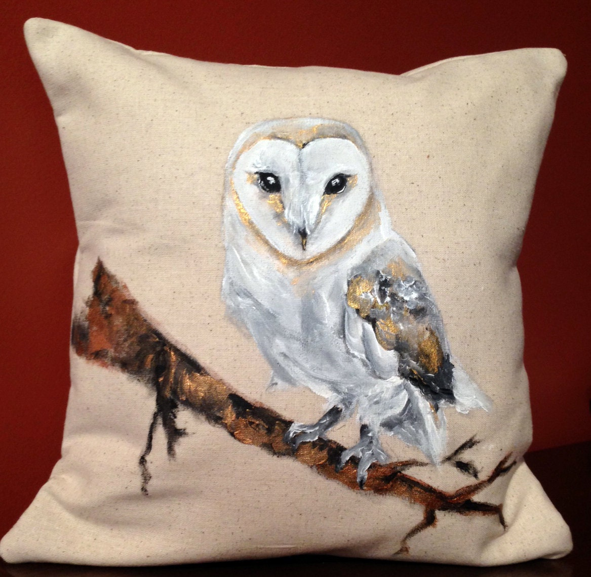 Barn Owl Painted Decorative Pillow White and Gold One of a