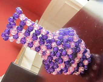 Purple and Pink Beaded Vase