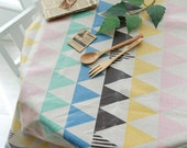 "Laminated Cotton Linen Fabric 2"" (5 cm) Triangle By The Yard"