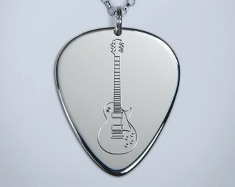 Solid Silver Plectrum Guitar Pick Necklace with Engraved Les Paul