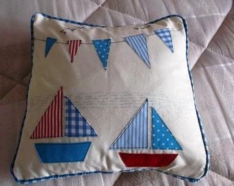 "Sailing Boats and Flags Cushion Cover 14x14"" Beautifully Handmade"