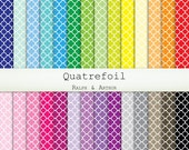Quatrefoil Digital Paper  - 28 Sheets - Digital Scrapbooking Paper - Commercial Use - Instant Download - Rainbow R220