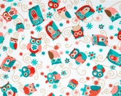 ADORNit Cuddle Fabric - Owls All Around, Coral - 1/4 yard minimum