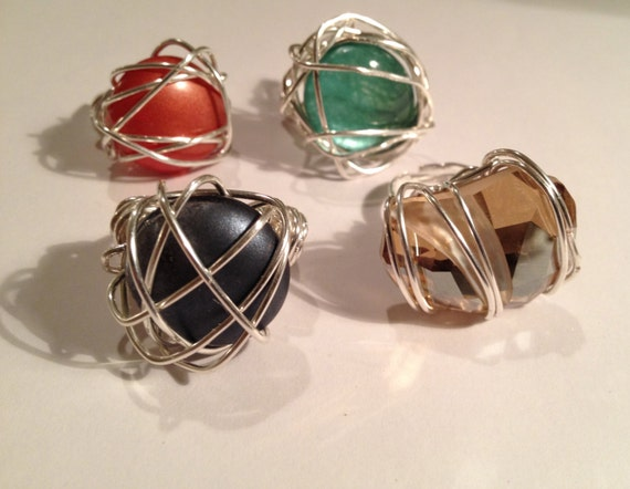 Swarovski crystal or glass cabochon silver-plated wire wrapped ring.