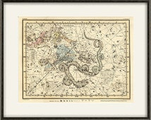Constellation print zodiac map antique wall  old prints Home decor wall print poster antique print zodiac art Star Map Astrology art sky map