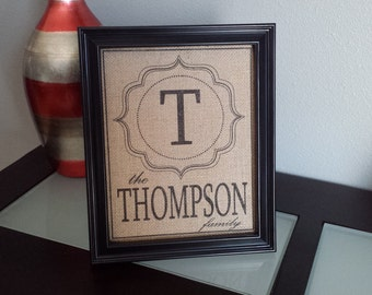 Framed Burlap Print - Framed Modern Monogram with Family Name - Customizable - Personalized - Wedding - Anniversary - 8x10