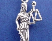 LADY JUSTICE Charm, Scales Of Justice, Lawyer, Law, Judge, Attorney .925 Sterling Silver Charm
