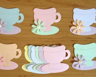 30 pastel Teacup die cuts for Ladies Cards/toppers *cardmaking*scrapbooking* craft project